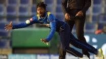 Their promising stand was broken by Akila Dhananjaya. Having missed the first game, the offspinner picked up the wicket of Shahzad and later sent back his partner Janat. (Getty Image)