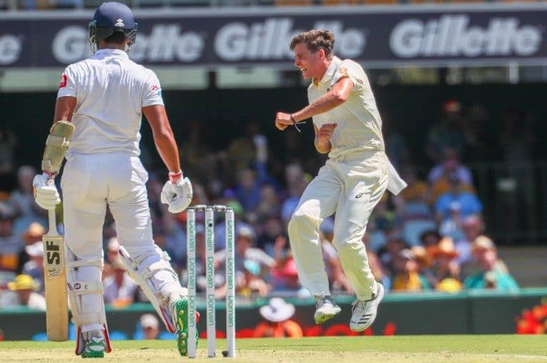 Jhye Richardson made Dinesh Chandimal his first Test wicket.