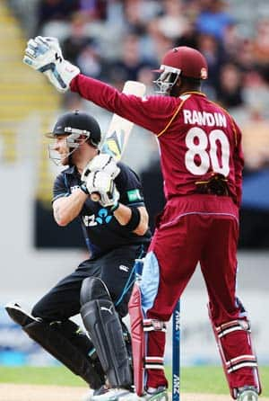 Brendon mccullum of new zealand cuts the ball away for four runs during the first one day international matc 1