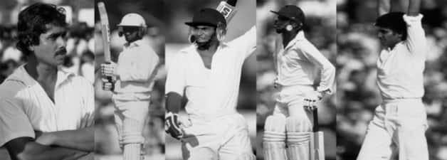 From left: Bandula Warnapura (c), Arjuna Ranatunga, Ranjan Madugalle, Sidath Wettimuny, Ajit de Silva in action during Sri Lanka's first ever Test © Getty Images