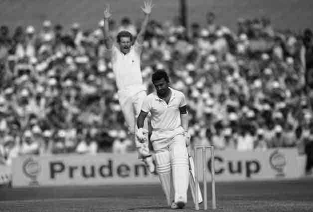 Sunil Gavaskar is caught-behind off a delighted Paul Allott © Getty Images