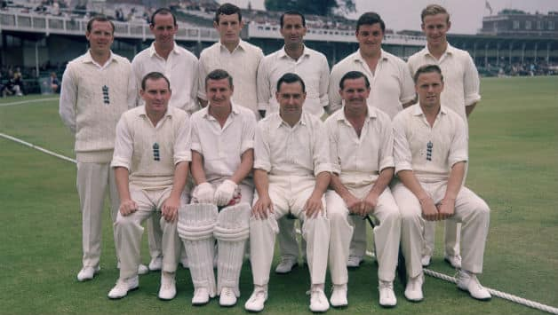 Tom Graveney (seated second from right) with the England Test team at Trent Bridge in 1968 © Getty Images