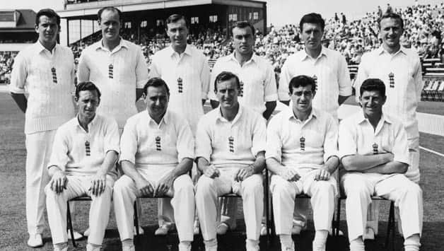 The 1963 England Test cricket team that played West Indies at Old Trafford (Standing from left): David Allen, Brian Close, Keith Andrew, John Edrich, Fred Titmus and Mickey Stewart. Sitting from left: Brian Statham, Colin Cowdrey, Ted Dexter, Fred Trueman and Ken Barrington © Getty Images