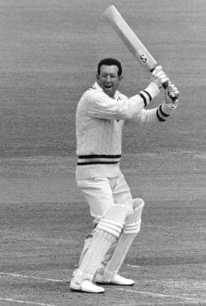Hampshire-and-West-Indies-cricketer-Roy-Marshall,-holds-his-bat-in-the-air-during1