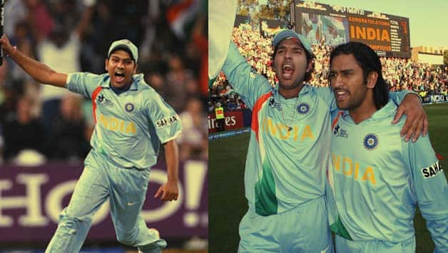 Rohit Sharma, Yuvraj Singh and MS Dhoni celebrate the 2007 T20 World Cup win © Getty Images