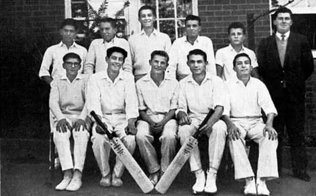 John Benaud (front row, centre). Photo Courtesy: Parramatta High School website.
