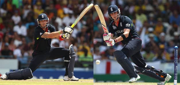 Kevin Pietersen (left) and Craig Kieswetter shared a 111-run partnership for the second wicket at almost 9.8 runs an over © Getty Images