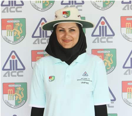 Narges Lafooti – the Iranian umpire (photo courtesy asiancricket.org)