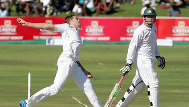 Morne Morkel in action during the first day of the Test © AFP