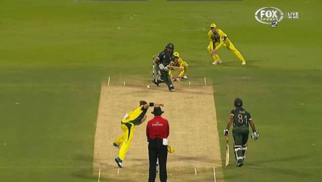 Fawad Alam is getting ready to play the sweep and Steven Smith has commenced his dash.