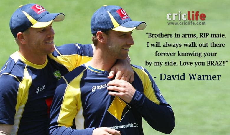 """""""Brothers in arms"""", David Warner's tribute to Phil Hughes"""