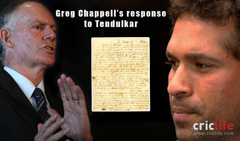 Greg Chappell's reply to Sachin Tendulkar's criticism in 'Playing It My Way'
