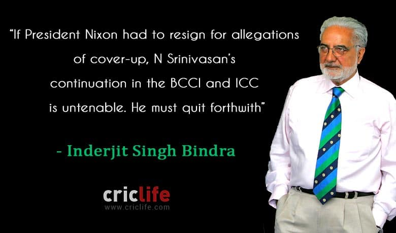 President Nixon had to quit for cover-up, so must Srinivasan: IS Bindra