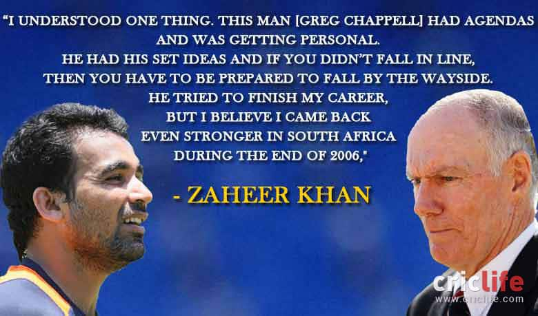 Zaheer Khan lashes out at Greg Chappell