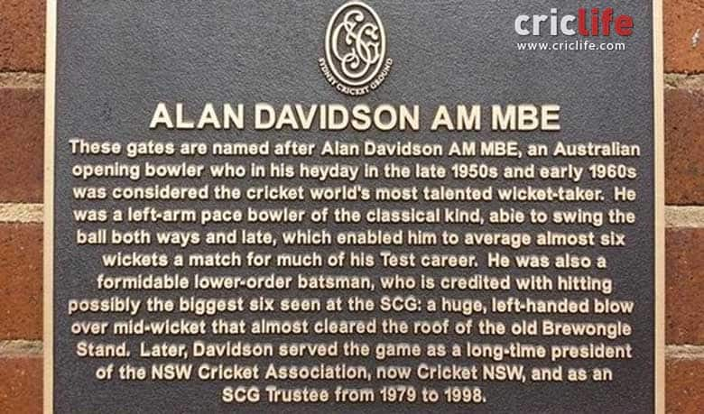 Alan Davidson honoured by Sydney Cricket Ground