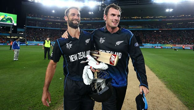 Grant Elliott (left) and Kyle Mills after the former helped New Zealand qualify for their first-ever World Cup final appearance © Getty Images