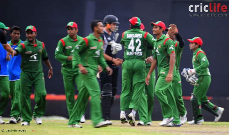 Bangladeshi cricketers celebrate after winning their first ODI match against New Zealand at the Sher-e Bangla National Stadium