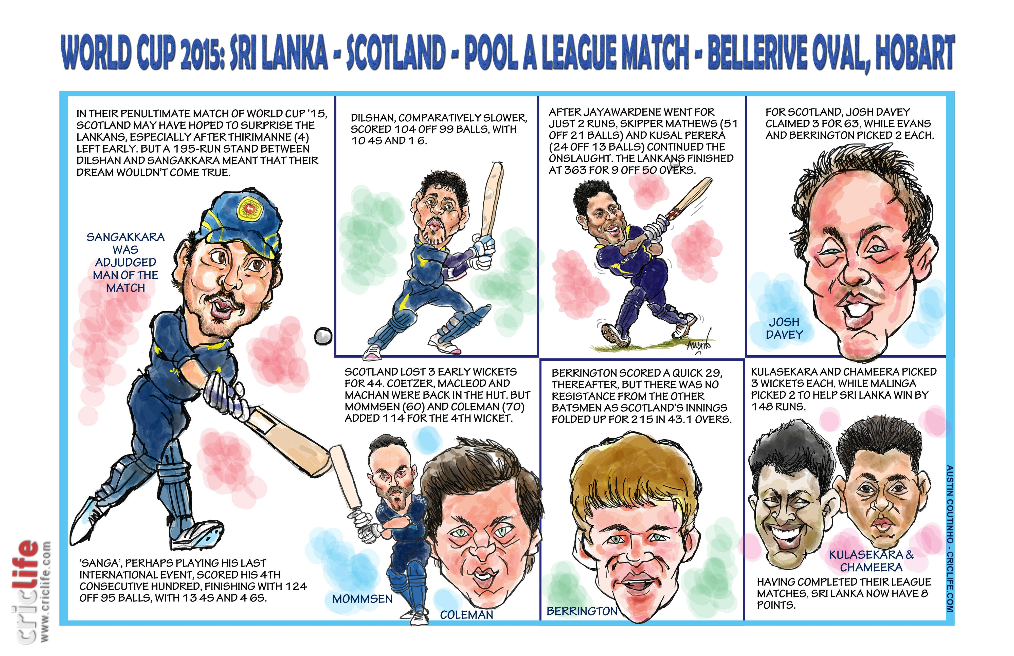 ICC Cricket World Cup 2015: Sri Lanka vs Scotland, Pool A match in Hobart in caricatures