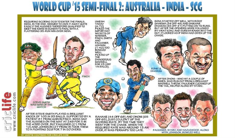 ICC Cricket World Cup 2015: Australia vs India, second semi-final in Sydney in caricatures