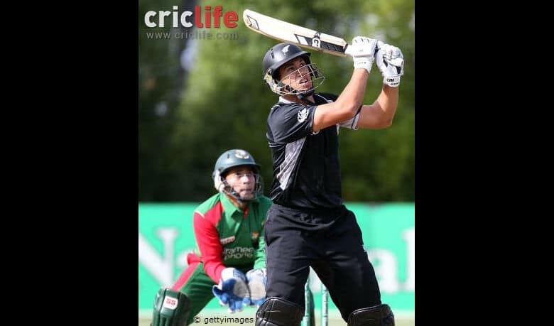 Ross Taylor pulls the ball away for six runs during the 2nd ODI against Bangladesh at University Oval