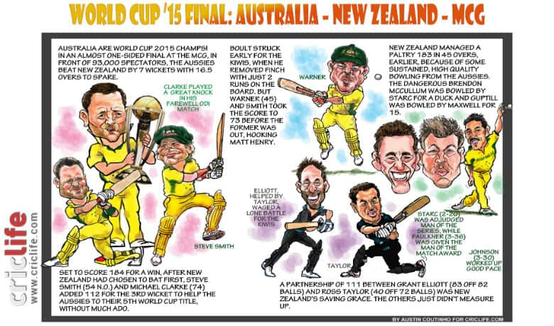 ICC Cricket World Cup 2015: Australia vs New Zealand final in Melbourne in caricatures