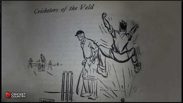 'Taylor Taylor Taylor!' - The frustration of Barnes - sketched by Leyden,  from 'Cricketers of the Veld' by Louis Duffus