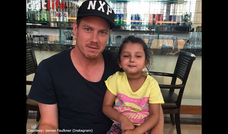 James Faulkner posts a picture with RR teammate Dishant Yagnik's daughter