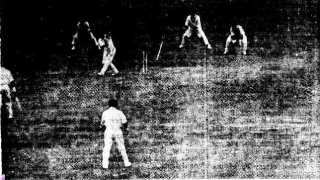 Godfrey Evans clean bowled by Raman Surendranath at Lord's, 1959. Photo Courtesy: Canberra Times.
