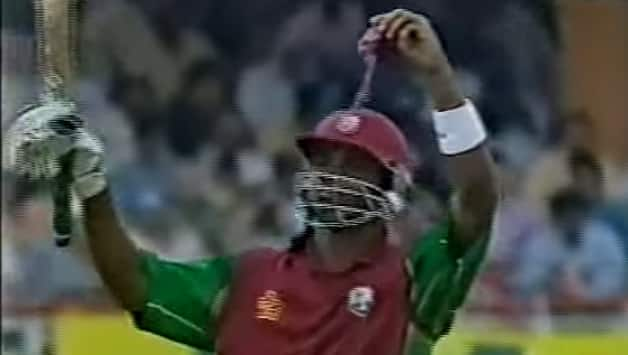 Marlon Samuels kept the legacy of Steve Waugh's rag going. Photo Courtesy: Youtube screengrab