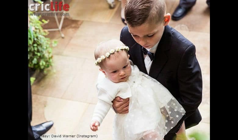 David Warner posts a picture of his nephew and daughter from his wedding day