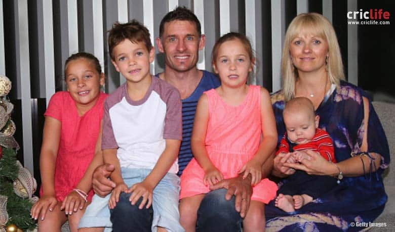Michael Hussey with his wife Amy Hussey and children