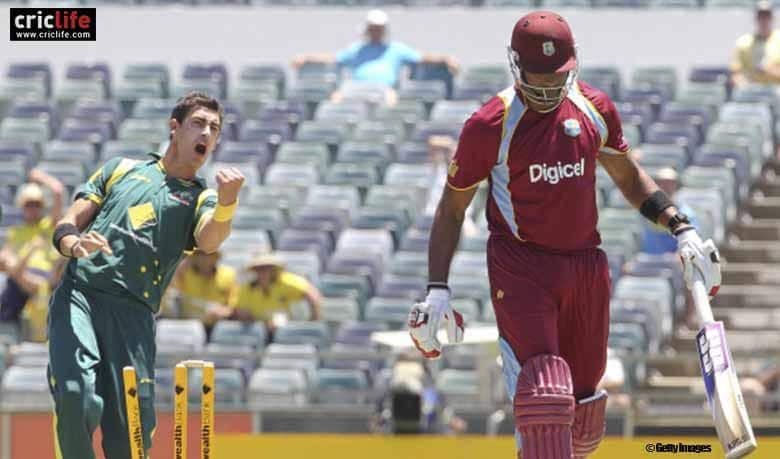 Mitchell Starc gives a send-off to Kieron Pollard after cleaning him up at Perth