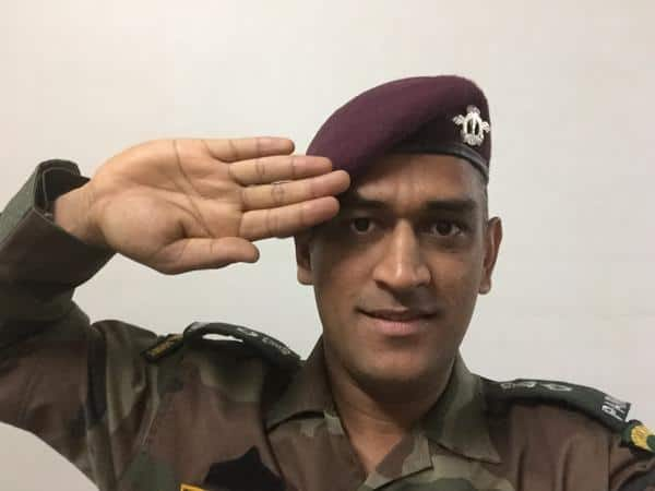 Lt Col (Hon) MS Dhoni salutes in his army uniform ahead of Independence Day