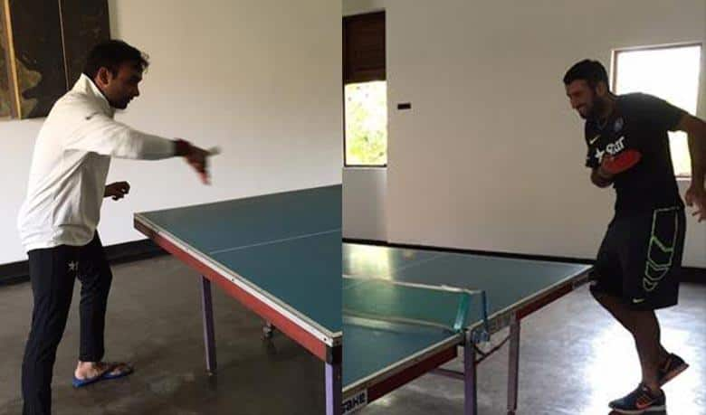 Mishra and Pujara share a 'ping-pong' moment