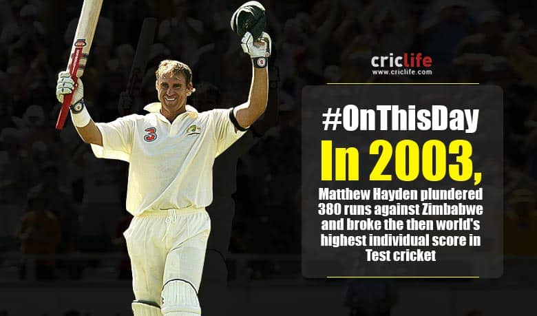 Matthew Hayden bulldozed his way to 380 - Cricket Country