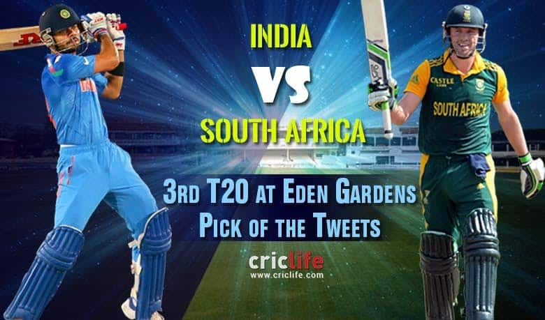 Pick of the tweets: India vs South Africa, 3rd T20 at Eden ...