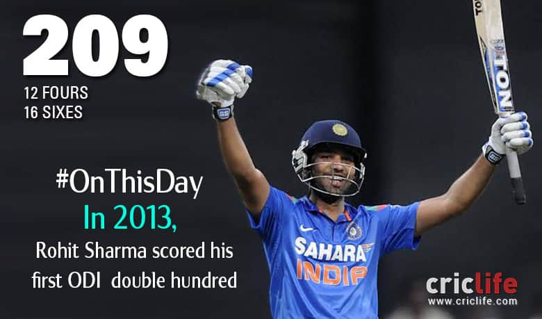Rohit Sharma plunders his first ODI double ton