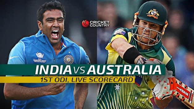 Live Cricket Scorecard India Vs Australia 2015 16 1st Odi At Perth