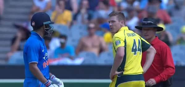 Virat Kohli-James Faulkner engage in friendly banter during 3rd ODI