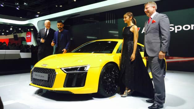 Virat Kohli and Alia Bhatt together unveiled the fastest model of Audi in India. Picture Courtesy: Audi India Twitter account