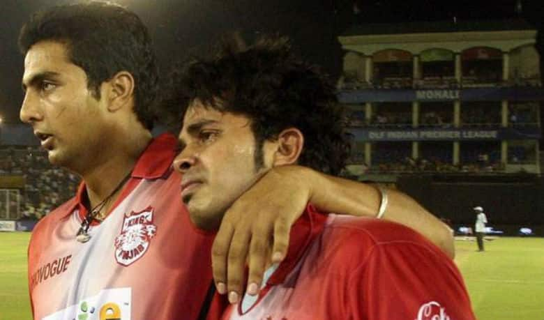 VRV Singh (left) consoling S Sreesanth after he was reportedly slapped by Harbhajan Singh during IPL season 1.