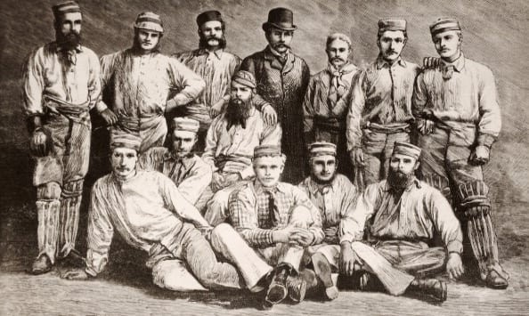Australian cricket team in England, 1878. Back, from left: Jack Blackham, Tom Horan, George Bailey, Dave Gregory (c), John Conway (manager), Alec Bannerman, Charles Bannerman, William Murdoch. Front row: Fred Spofforth, Francis Allan, William Midwinter, Tom Garrett, Henry Boyle © Getty Images