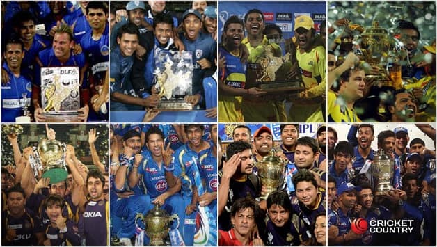 Winners of IPL left to right (Rajasthan Royals, Deccan Chargers, Chennai Super Kings, Chennai Super Kings, Kolkata Knight Riders, Mumbai Indians, Kolkata Knight Riders, Mumbai Indians)