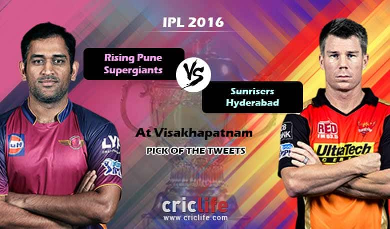 IPL 2016, Match 40, Pick of the tweets: Rising Pune Supergiants vs Sunrisers Hyderabad at Visakhapatnam