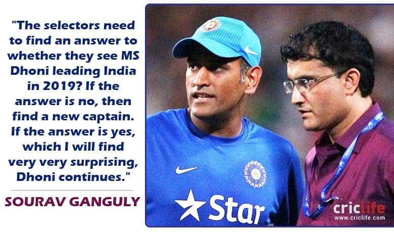 Sourav Ganguly questions MS Dhoni's future as India ...
