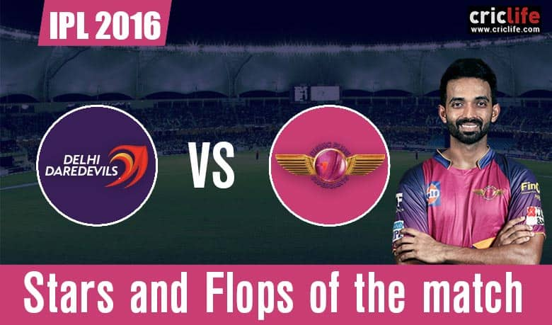 IPL 2016: Rising Pune Supergiants beat Delhi Daredevils by 7 wickets at Delhi, Stars and Flops