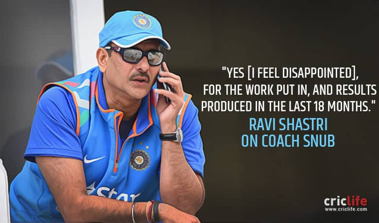 Ravi Shastri expresses disappointment on India head coach snub