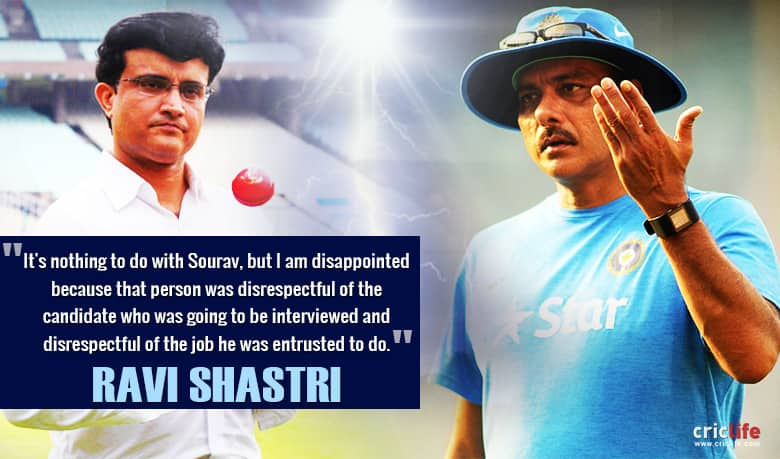 """Ravi Shastri's verbal volleys continue; lashes out at """"disrespectful"""" Sourav Ganguly"""