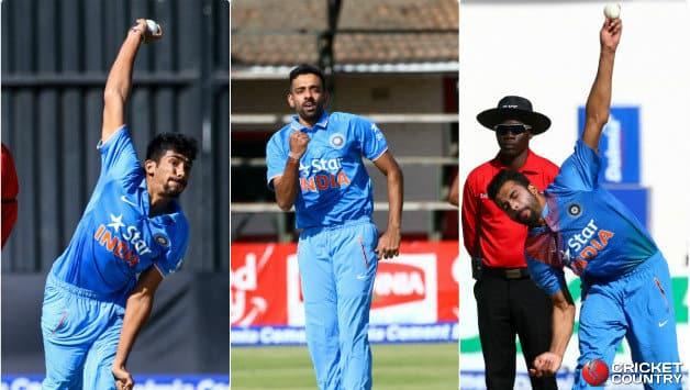 Jasprit Bumrah, Dhawal Kulkarni and Barinder Sran in action during India tour of Zimbabwe 2016 © AFP