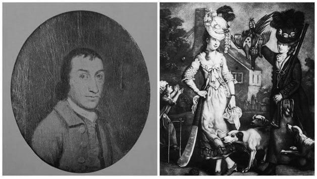 "Left: Lumpy Stevens was the man responsible for the middle-stump in cricket. Photo courtesy: Ronald Bowen. Right: The 1770 illustration Miss Wicket and Miss Trigger from Social Caricature in the Eighteenth Century shows ""two uprights and a crosspiece"" © Getty Images"